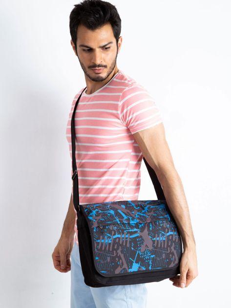 Czarno-niebieska męska torba na ramię                              zdj.                              1