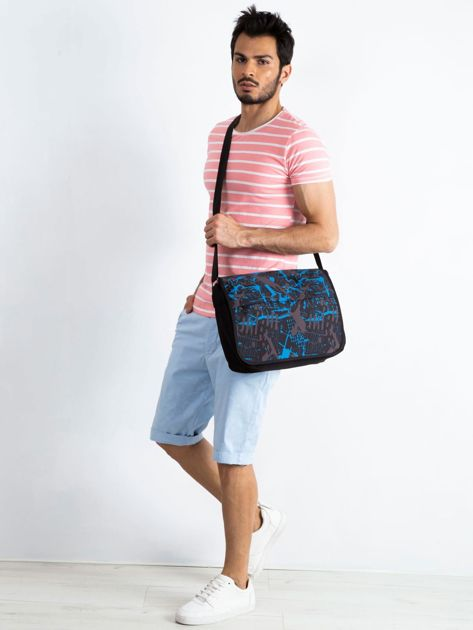 Czarno-niebieska męska torba na ramię                              zdj.                              4
