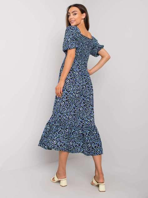Czarno-niebieska sukienka w kwiaty Faustine RUE PARIS