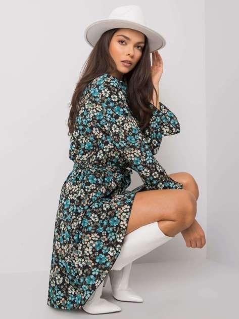Czarno-niebieska sukienka w kwiaty Gracelynn