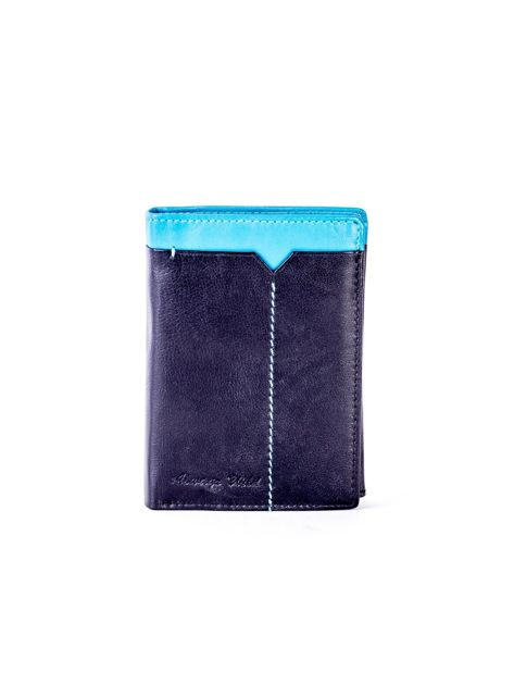 Czarno-niebieski portfel męski ze skóry                              zdj.                              1