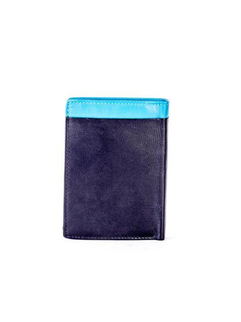 Czarno-niebieski portfel męski ze skóry                              zdj.                              2