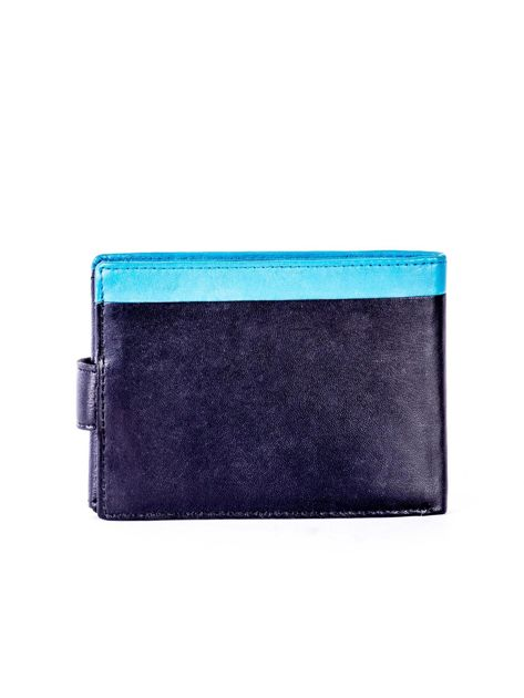Czarno-niebieski skórzany portfel z przeszyciem i kolorową wstawką                              zdj.                              2