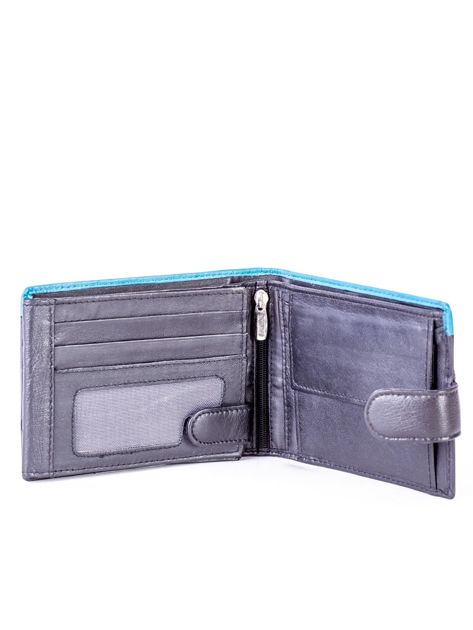 Czarno-niebieski skórzany portfel z przeszyciem i kolorową wstawką                              zdj.                              4