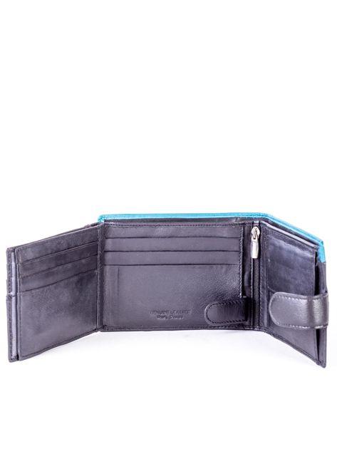 Czarno-niebieski skórzany portfel z przeszyciem i kolorową wstawką                              zdj.                              5