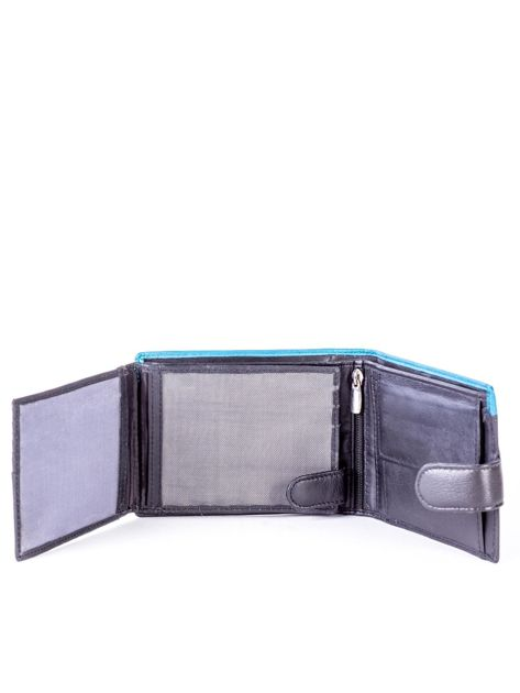 Czarno-niebieski skórzany portfel z przeszyciem i kolorową wstawką                              zdj.                              6
