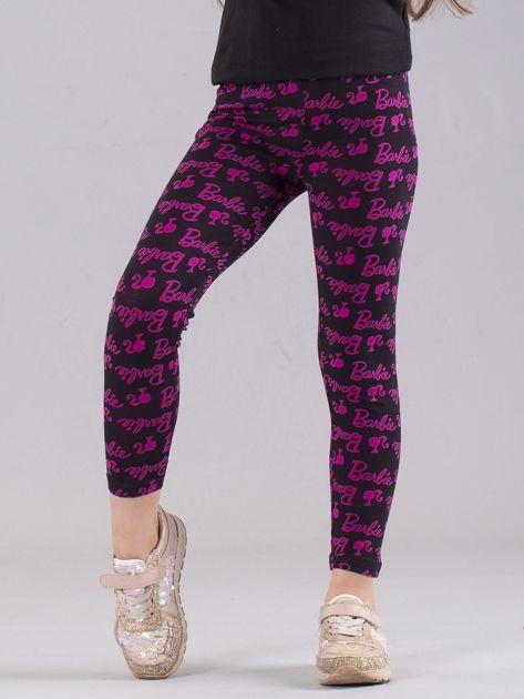 Czarno-różowe legginsy dziewczęce z nadrukiem BARBIE                              zdj.                              1