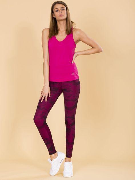 Czarno-różowe legginsy moro                              zdj.                              4