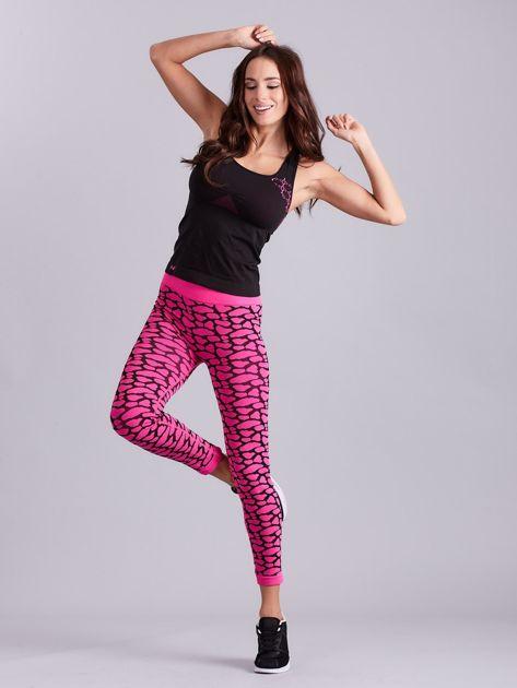 Czarno-różowy komplet fitness top i legginsy                              zdj.                              15