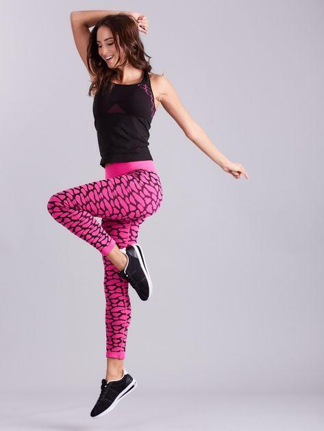 Czarno-różowy komplet fitness top i legginsy                              zdj.                              16