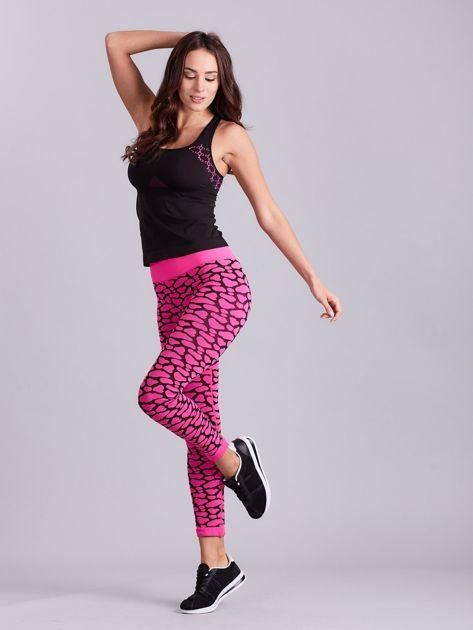 Czarno-różowy komplet fitness top i legginsy                              zdj.                              6