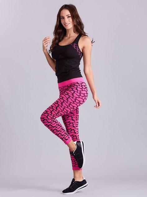 Czarno-różowy komplet fitness top i legginsy                              zdj.                              9
