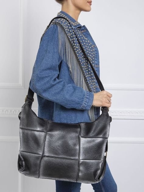 Czarno-srebrna podłużna torba