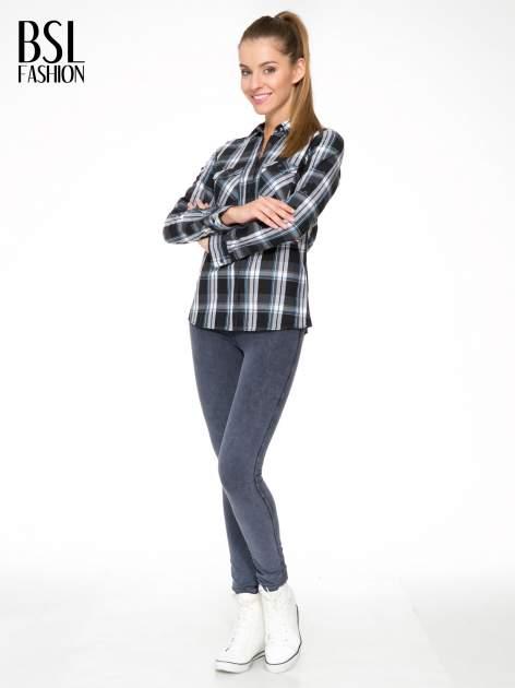 Czarno-turkusowa koszula w kratę z kieszeniami                                  zdj.                                  5