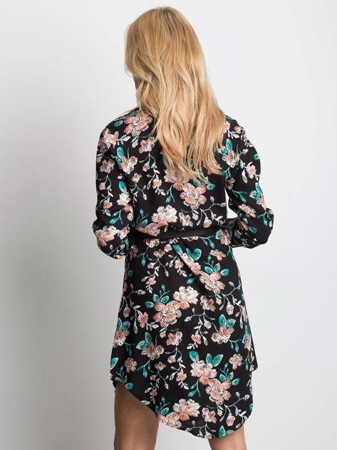 Czarno-zielona szmizjerka w kwiaty                              zdj.                              3
