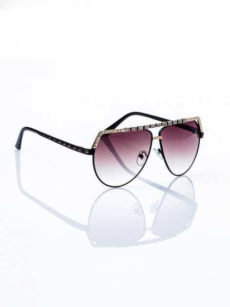 Czarno-złote okulary przeciwsłoneczne z cyrkoniami                                  zdj.                                  3