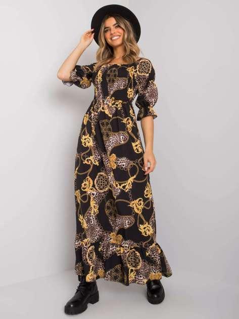 Czarno-żółta sukienka maxi Seanna