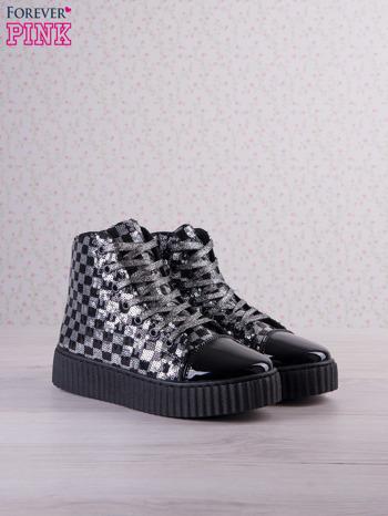 Czarnosrebrne sneakersy Kailey z cekinami w szachownicę                                  zdj.                                  2
