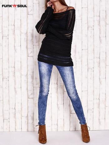 Czarny ażurowy sweter z dekoltem w łódkę FUNK N SOUL                                  zdj.                                  3