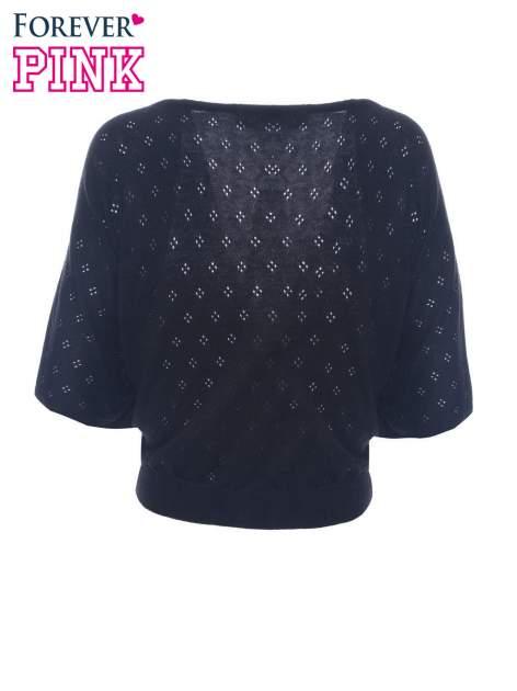 Czarny ażurowy sweterek z krótkim rękawem                                  zdj.                                  6