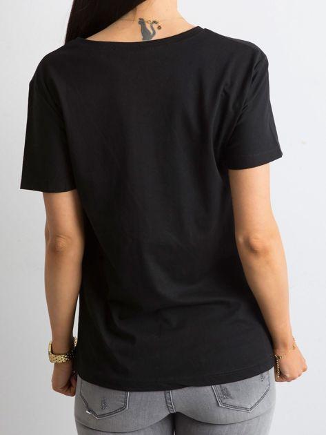 Czarny bawełniany damski t-shirt                              zdj.                              2