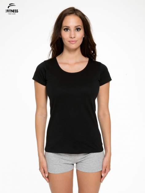 Czarny bawełniany t-shirt damski typu basic                                  zdj.                                  1