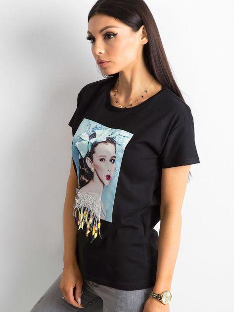 Czarny bawełniany t-shirt z aplikacjami                              zdj.                              3