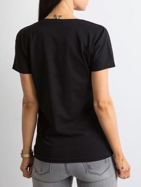 Czarny bawełniany t-shirt z aplikacjami                              zdj.                              2