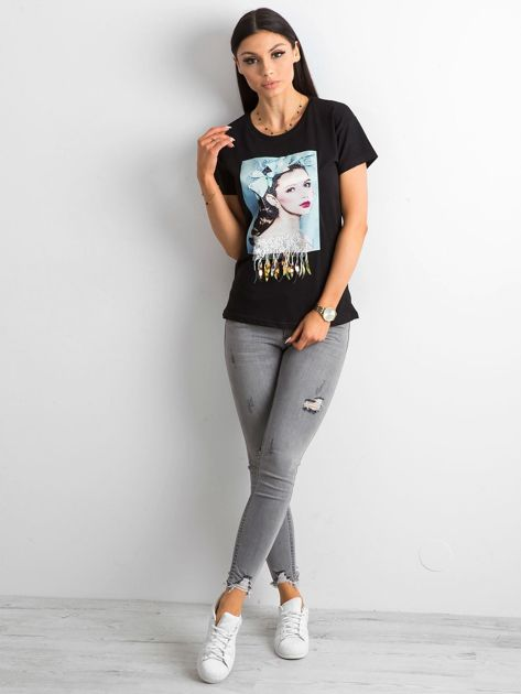 Czarny bawełniany t-shirt z aplikacjami                              zdj.                              4