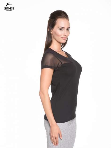Czarny bawełniany t-shirt z siateczką                                  zdj.                                  3