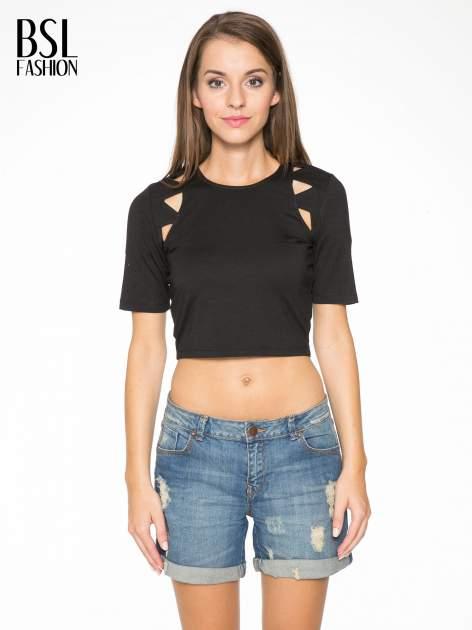 Czarny cropped t-shirt z z ozdobnymi wycięciami                                  zdj.                                  1