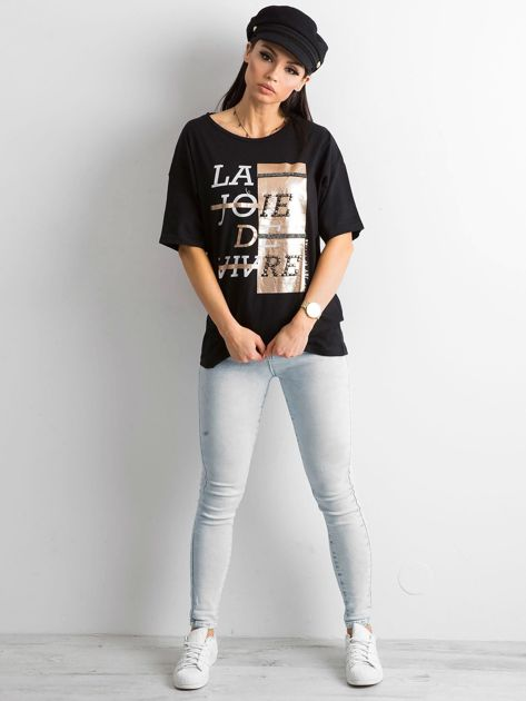Czarny damski t-shirt z aplikacją                              zdj.                              4