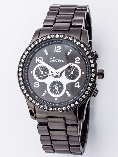 Czarny damski zegarek na bransoleccie z ozdobnym chronografem i cyrkoniami