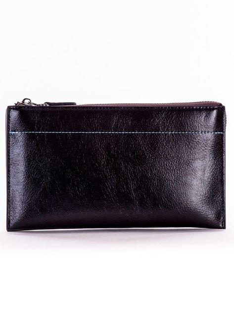 Czarny długi portfel kopertówka na zamek                              zdj.                              1
