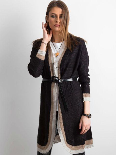 Czarny długi sweter damski z dzianiny                              zdj.                              1