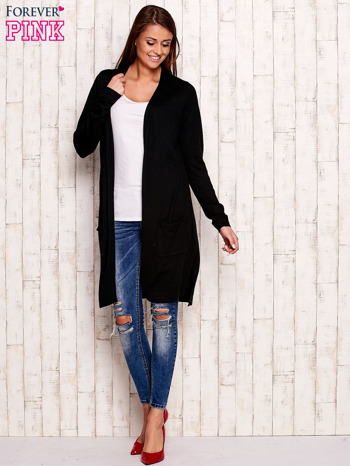 Czarny długi sweter oversize                                  zdj.                                  2