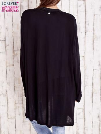 Czarny długi sweter z tiulowym wykończeniem                                  zdj.                                  4