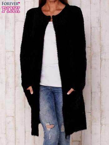 Czarny długi włochaty sweter                                   zdj.                                  1