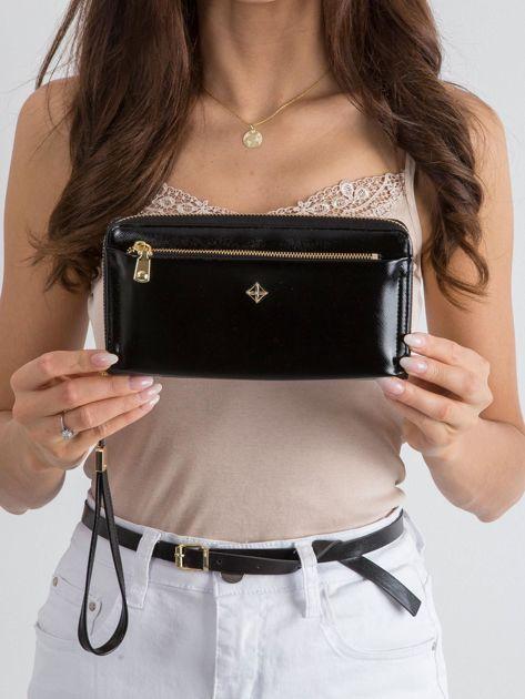 Czarny duży portfel z ekoskóry