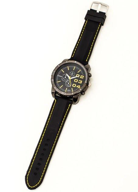 Czarny duży zegarek męski na silikonowym wygodnym pasku z żółtymi wstawkami                              zdj.                              3