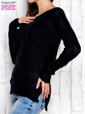 Czarny dzianinowy sweter o szerokim splocie                                  zdj.                                  3