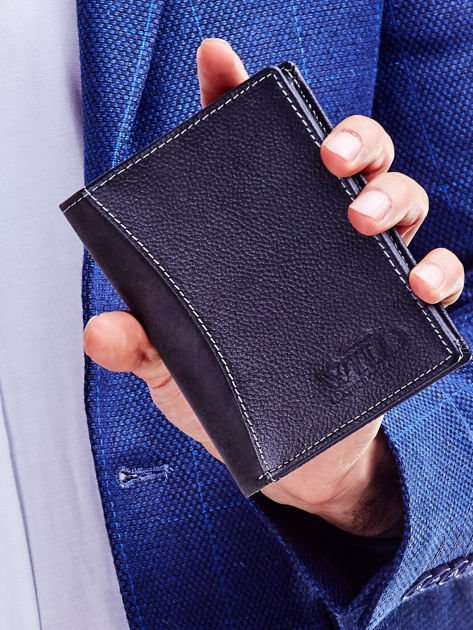 Czarny elegancki portfel dla mężczyzny z łączonych materiałów                              zdj.                              1