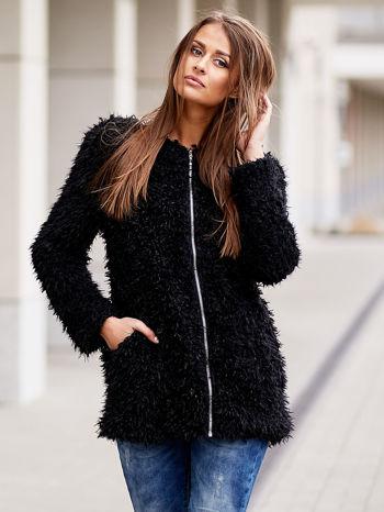 Czarny futrzany sweter kurtka na suwak                                  zdj.                                  1