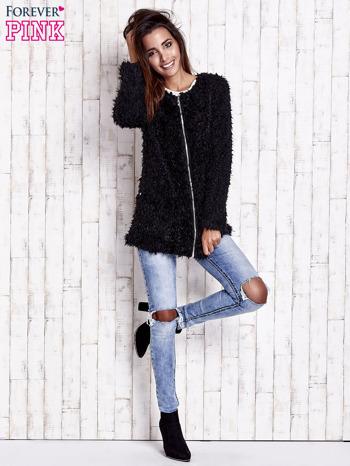 Czarny futrzany sweter kurtka na suwak                                  zdj.                                  3