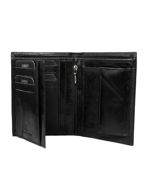 Czarny gładki skórzany portfel dla mężczyzny                              zdj.                              2