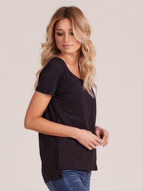 Czarny gładki t-shirt damski                              zdj.                              3