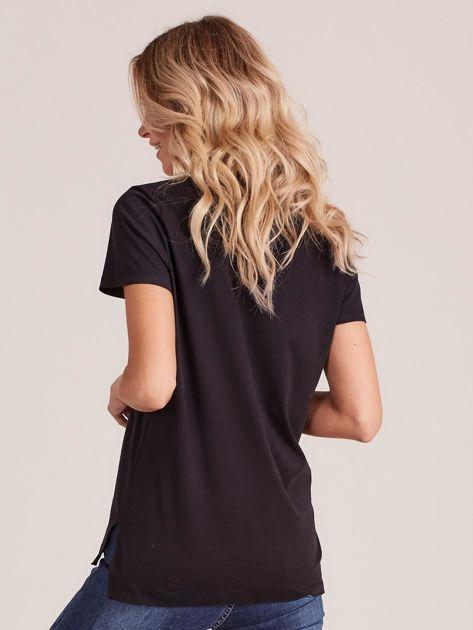 Czarny gładki t-shirt damski                              zdj.                              2