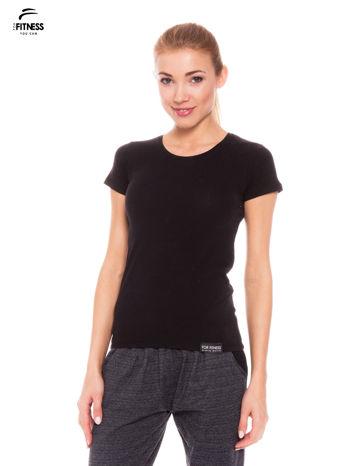 Czarny gładki t-shirt z bawełny