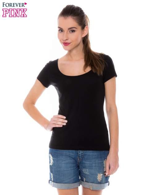 Czarny gładki t-shirt z marszczeniem z tyłu                                  zdj.                                  1