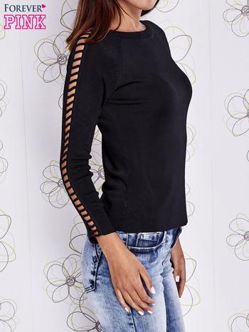 Czarny jedwabny sweter cut out shoulder                                  zdj.                                  3